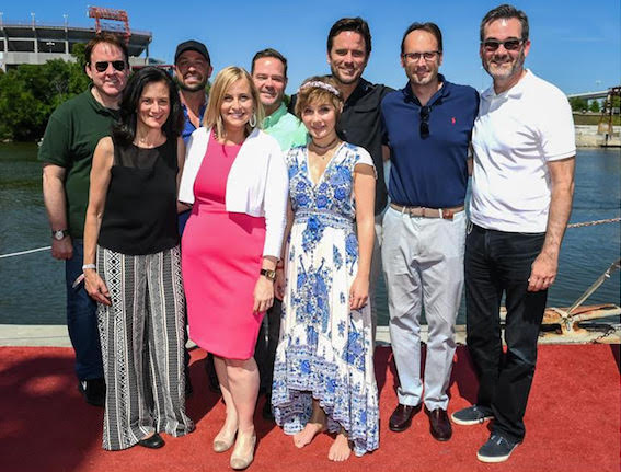 Pictured (L-R): Brian Philips, President of CMT; Leslie Fram, SVP Music Strategy, CMT; Cody Alan, CMT Host; Nashville Mayor Megan Barry; Jayson Dinsmore, EVP of Development, CMT; Clare Bowen; Charles Esten; Bob Raines, Exec. Director of Tennessee Entertainment Commission; Steve Buchanan, Exec Producer and President, Opry Entertainment NOT PICTURED: Chris Carmack