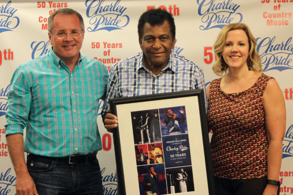 Pictured (L-R): Pete Fisher, Charley Pride, Gina Keltner.