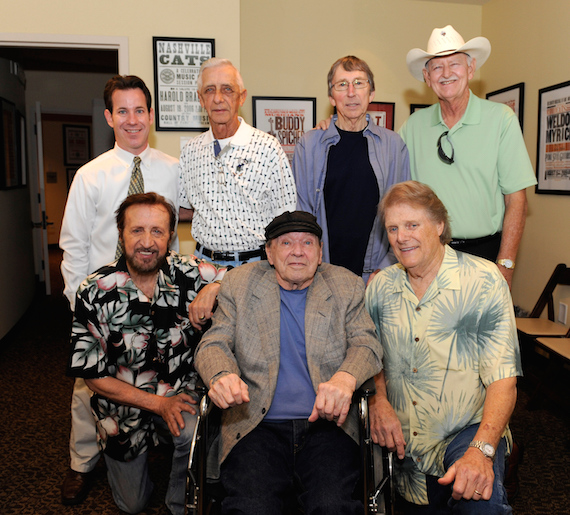 Pictured (Back row, L-R): Museum Editor Michael Gray, Gene Chrisman, Bobby Emmons and Weldon Myrick; (Front row, L-R): Bobby Wood, Chips Moman and Reggie Young. Photo: Donn Jones