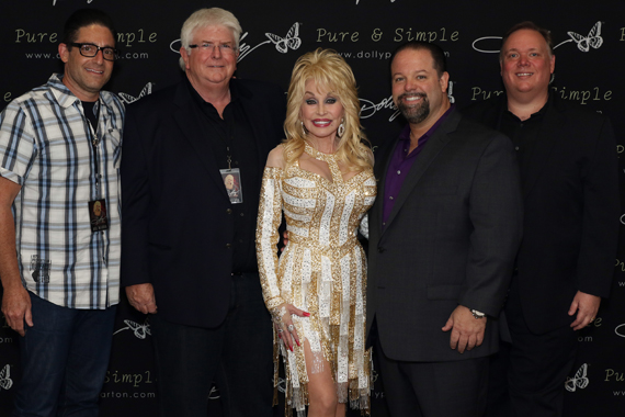 Pictured (L-R):National Shows 2's Darin Lashinsky, APA's Steve Martin, Dolly Parton, CTK Mgmt's Danny Nozell, and Webster PR's Kirt Webster. Photo: Jeremy Westby