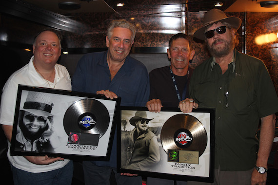 Pictured: Kirt Webster, President/CEO, Webster Public Relations; Ken Levitan, Founder/Co-President, Vector Management; Greg Oswald, Co-Head, William Morris Endeavor Entertainment; Hank Williams Jr.