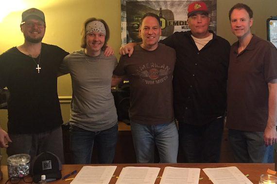 Pictured (L-R): Demolition writers Adam Searan, Drew Smith, President, Jon D'Agostino, Pete Sallis, song plugger Shane Barrett