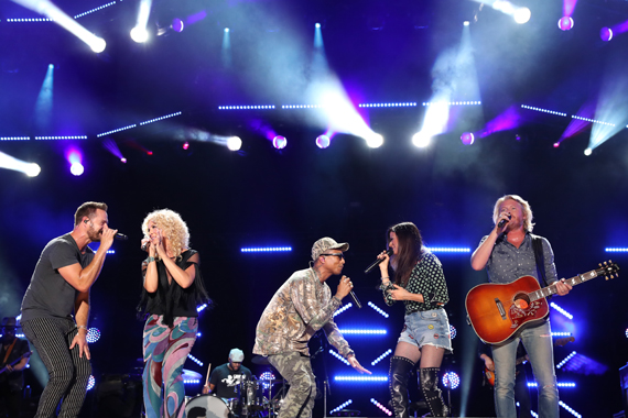 Little Big Town with Pharrell Williams. Photo: Donn Jones