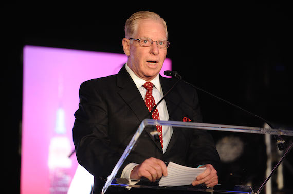 SESAC Vice-Chairman Pat Collins accepts NMPA Industry Legacy Award at NMPA's June 8 meeting in NYC. Photo: NMPA/Gary Gershoff