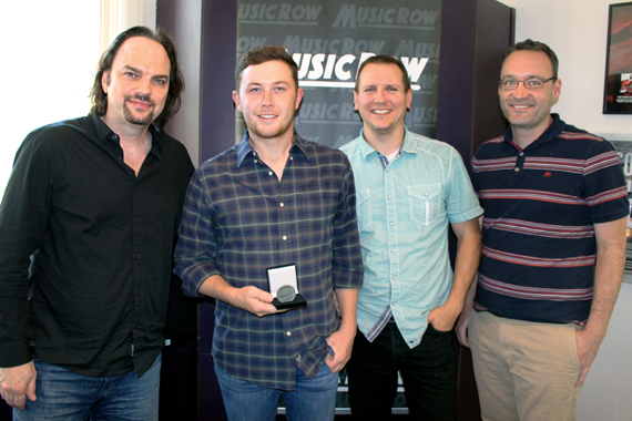 Pictured (L-R): Sherod Robertson, Owner/Publisher, MusicRow; Scotty McCreery, Troy Stephenson, Chart Director, MusicRow; Craig Shelburne, GM, MusicRow. Photo: Molly Hannula