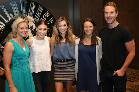 Pictured (L-R): Marisa Fisher, ACM Lifting Lives Camp Director; Maddie Marlow and Tae Dye of Maddie & Tae; Laura Hermann, ACM Lifting Lives Assistant Camp Director; Tommy Moore, Manager, Administration & Operations, ACM. Photo: Terry Wyatt/Getty Images for Academy of Country Music)