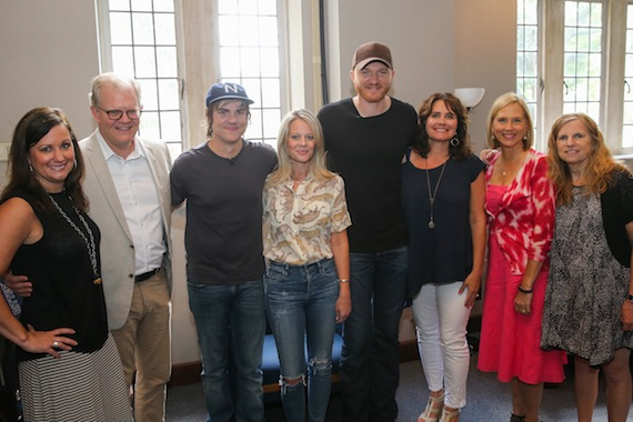 Pictured (L-R) Lori Badgett, ACM Lifting Lives President; Stuart Dill, VUMC Entertainment Industry Liaison; Ross Copperman, songwriter/producer; Tiffany Moon, EVP, Academy of Country Music; Eric Paslay; Lorie Lytle, ACM Lifting Lives Board; Elizabeth Roof, Senior Research Specialist, Vanderbilt Kennedy Center; Dr. Elisabeth Dykens, Associate Director of Vanderbilt Kennedy Center for Research on Human Development. Photo by Terry Wyatt/Getty Images for Academy of Country Music