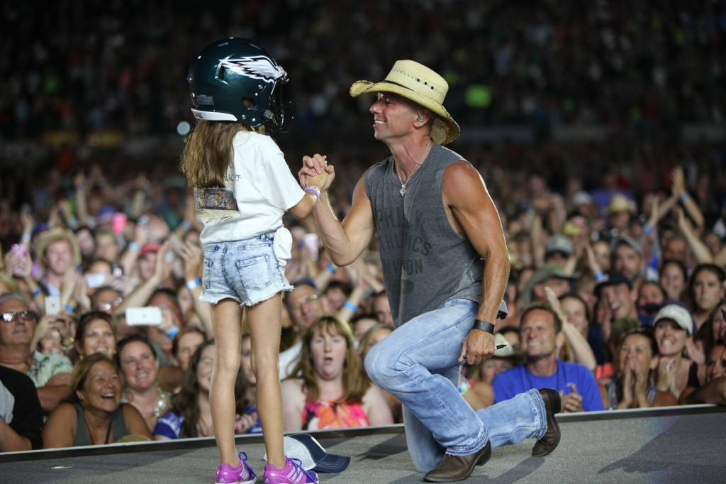 Kenny Chesney honors young fan with Philadelphia Eagles helmet Credit: Jill Trunnell