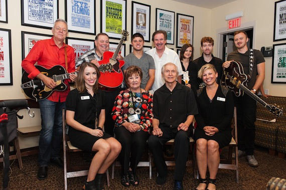 Pictured (Back row, L-R): Tommy Emmanuel, Eddie Pennington, Lucas Thomas, Tom Doyle, Striking Matches' Sarah Zimmerman and Justin Davis, and Joe Robinson; (Front row, L-R): Country Music Hall of Fame and Museum's Abigail St. Pierre, Dinah Gretsch, Fred Gretsch, and the Country Music Hall of Fame and Museum's Ali Tonn. Photo by Carissa Riccardi