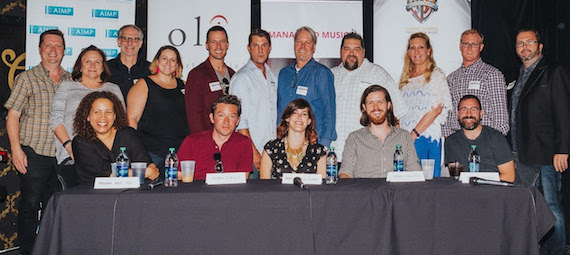 Pictured (Row 1, L-R): Madonna Wade-Reed, Adam Ehrlich, Amanda Krieg Thomas, Stephen Stallings, Daniel Kuypers. (Row 2, L-R): John Allen (New West Records), Denise Nichols (The Primacy Firm), Craig Currier (peermusic), Kari Barnhart (5/3 Bank), Brad Peterson (5/3 Bank), Michael Martin (ASCAP), Randy Wachtler (Warner/Chappell Production Music), Tim Fink (SESAC), Ree Guyer Buchanan (AIMP Treasurer/Wrensong Music), John Ozier (AIMP Ex. Dir./ole), Randall Foster (ole) // Photo Credit: Amy Allmand