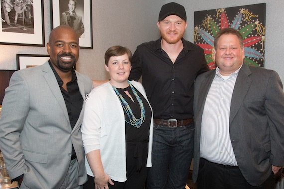 Eric Paslay (second from right) meets CMA Music Teachers of Excellence (l-r) Franklin Willis, Tracy Roberts, and Jason Walsh backstage at the Grand Ole Opry. Photo: Chris Hollo