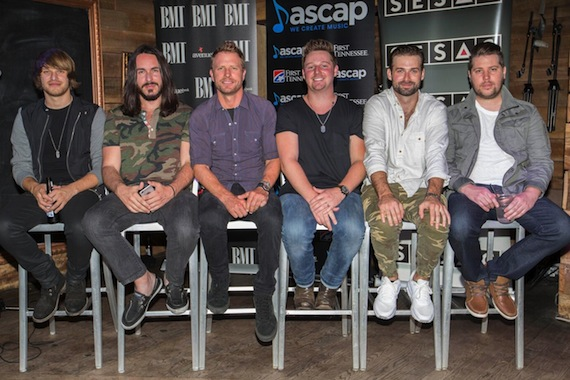 Pictured (L-R): Michael Tyler, Alexander Palmer, Dierks Bentley, Josh Mirenda, Dave Kuncio, Jaron Boyer. Photo: Ed Rode