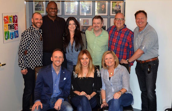 Pictured (L-R, back row): Austen Adams, attorney; Jon Platt, Warner/Chappell; Anna Weisband, THiS Music; Ben Vaughn, Warner/Chappell Music; Phil May, Warner/Chappell Music; Tim Nichols, THiS Music. Front: Rusty Gaston, THiS Music; Jessi Alexander; Connie Harrington, THiS Music.