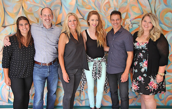 Pictured (L-R): Cassetty Entertainment's Helena Capps and Todd Cassetty, BMI's Leslie Roberts, BMI songwriter Kalie Shorr, writerslist's Christy DiNapoli and Nicole Wyatt