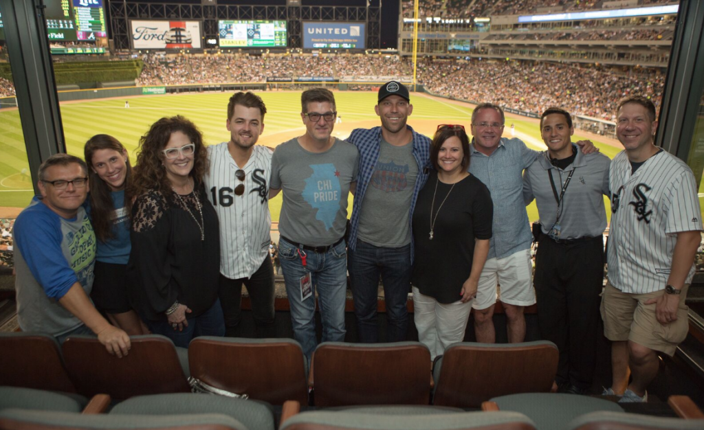 Pictured (L to R): Dan Rogers, Opry; Lauren Zimmerman, Opry; Neda Tobin, Red Bow Records; Chase Bryant; Jeff Kapugi, US 99.5; Nick Harley, Fitzgerald Hartley; Heather Middleton, Nashville CVC; Pete Fisher, Opry; Anthony Olivo, Chicago White Sox; Mike Kasper, US 99.5. Photo: Jeff Johnson