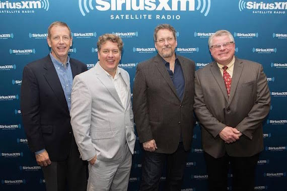 Pictured (L-R):  IBMA Executive Director Paul Schiminger, Earls of Leicester's Shawn Camp and Jerry Douglas who also earned Male Vocalist of the Year (Camp) and Dobro Player of the Year, Instrumental Recorded Performance (Douglas) and Kyle Cantrell, host of SiriusXM's Bluegrass Junction channel which was named an IBMA Distinguished Achievement Award recipient.