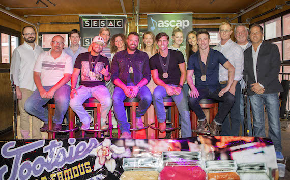 Pictured (L-R): (front row) George, Wilson, Houser, King, Rogers, (back row) Razor & Tie's Brad Kennard, Black River's Dave Pacula, SESAC's Shannan Hatch, Magic Mustang's Juli Newton-Griffith and Lydia Schultz, ASCAP's Beth Brinker, Black River's Kelly Bolton, Ole's John Ozier, and Broken Bow Records' Carson James and Jon Loba.