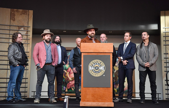 Pictured (L-R): Drummer Chris Fryar, music arranger Coy Bowles, songwriter Clay Cook, musical artist Matt Mangano, singer Zac Brown, musician John Driskell Hopkins, musical artist Jimmy De Martini and percussionist Daniel de los Reyes. Photo: Jason Davis/Getty Images for Country Music Hall Of Fame & Museum