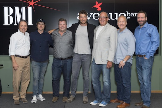 Pictured: (L-R): BMI's Jody Williams, BMI songwriter Ross Copperman, BMI's Bradley Collins, BMI singer-songwriter Brett Eldredge, Warner Music Nashville's John Esposito, Sony ATV's Troy Tomlinson and Josh Van Valkenburg.