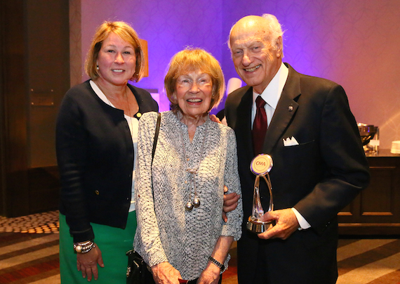 Pictured (L-R): CMA Chief Executive Officer Sarah Trahern and former CMA Executive Director Jo Walker-Meador congratulate Board member Bill Denny as the recipient of the inaugural J. William Denny Award. Denny began serving on the CMA Board during Walker-Meader's tenure. Photo: Kayla Schoen / CMA