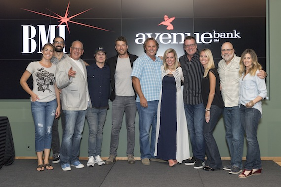 Pictured (L-R): Mallory Opheim, Branden Bosler, John Esposito, Ross Copperman, BE, Scott Hendricks, Katie Bright, Peter Strickland, Kristen Williams, Kevin Herring, Cris Lacy