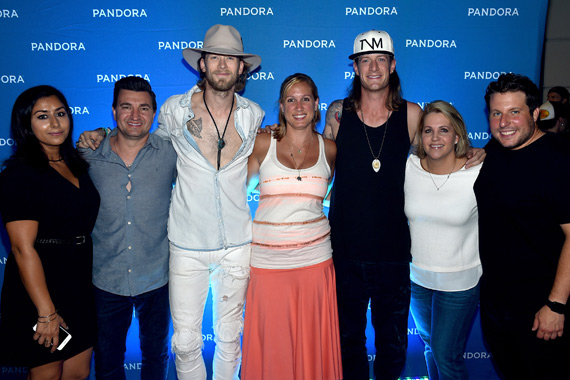 Pictured (L-R): Pandora's Gurj Bassi and Jeff Zuckowski; FGL's Brian Kelley; Pandora's Nicole Carbone-Rogers; FGL's Tyler Hubbard; BMLG's Kelly Rich; and Pandora's Mike Spinella. Photo: John Shearer/Getty Images for Pandora