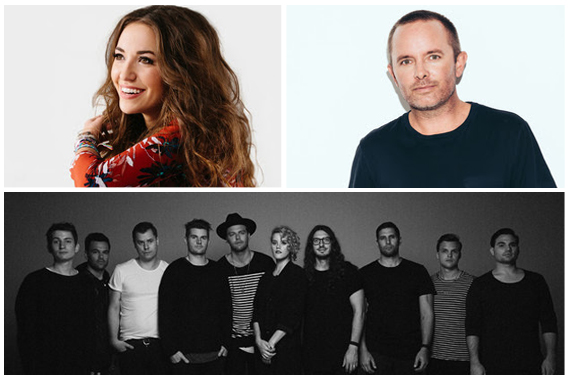 Pictured (clockwise from top left): Lauren Daigle, Chris Tomlin, Hillsong UNITED