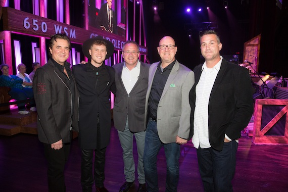 Pictured (L-R): Big Machine Label Group President/CEO Scott Borchetta, Trent Harmon, Grand Ole Opry Vice President/GM Pete Fisher, Big Machine Records SVP Promotion Jack Purcell and 19 Entertainment EVP/Worldwide Head of Music Jason Morey. Photo: Chris Hollo/Grand Ole Opry