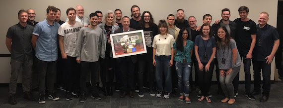 Hillsong UNITED with Capitol Christian Music Group CEO Bill Hearn and team during a stop at Bridgestone Arena in Nashville, Tenn. on their Empires U.S. tour.
