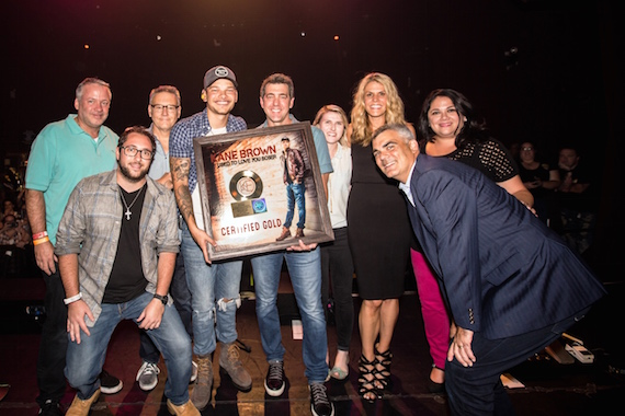 From (L-R): Keith Gale, RCA Nashville; Bob Foglia, Sony Music Nashville; Randy Goodman, Chairman/CEO, Sony Music Nashville; Kane Brown; Ken Robold, Sony Music Nashville; Hannah Dudley, Sony Music Nashville; Martha Earls, Brown's manager; Caryl Healey, Sony Music Nashville; Darren Stupak, EVP/GM, Sales, Sony Music Entertainment.