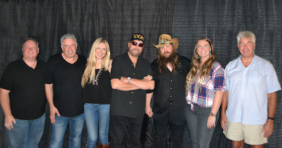 Pictured (L-R): Kirt Webster, Webster PR; Ken Levitan, Vector Management; Holly Williams; Hank Williams Jr.; Chris Stapleton; Morgane Stapleton; Coran Capshaw, Red Light Management. Photo: Charlie Sanderson/Hank Jr Enterprises