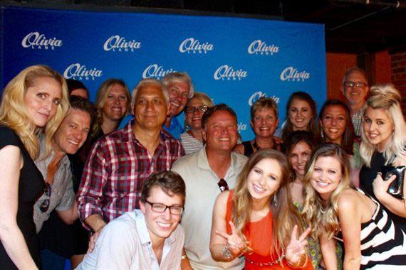 Olivia Lane (front middle) celebrates her EP release. Photo: Allison Kurtz