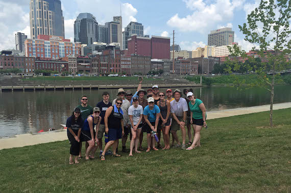 Sony/ATV staffers volunteer to help clean up the Cumberland River.