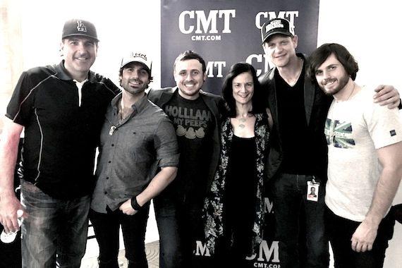 Pictured (L-R): David Huff, producer; Nate Bass; Mark Bass; Leslie Fram, CMT; Stacey Cato, CMT; Kieran Bass