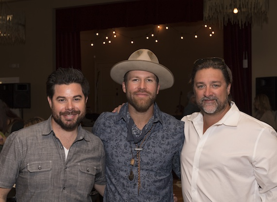 Pictured: (L-R) Trey Wilson, Vector Management; Drake White; Chris Stacey, GM Dot Records. Photo Credit: Steve Lowry