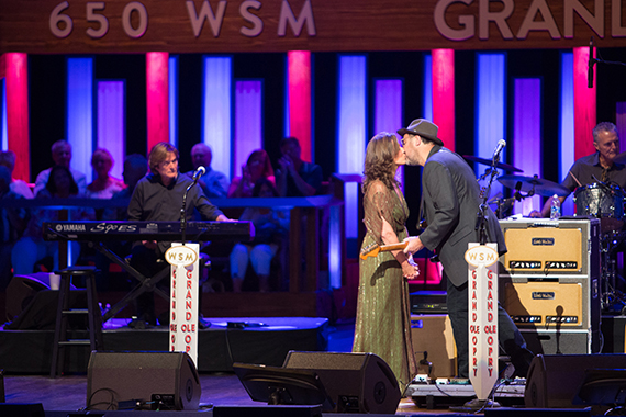 Amy Grant congratulates her husband Vince Gill on his milestone 25th Anniversary as a member of the Grand Ole Opry.