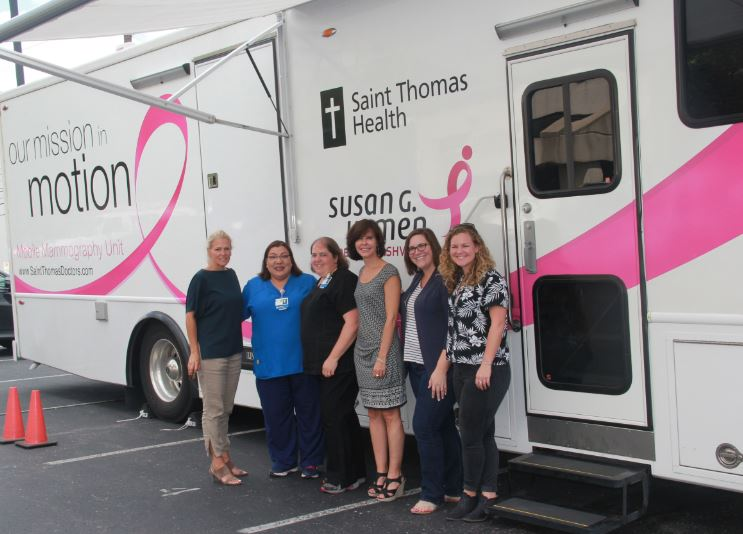 Pictured: (L-R): BMI's Leslie Roberts, Mobile Heath Unit Driver Debbie Padilla, Mammography Technologist Kelly Large, MusiCares' Debbie Carroll, MusiCares' Danielle Bowker and BMI's Nina Carter.