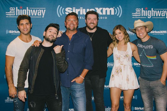 Pictured (L-R): Dan Smyers, Shay Mooney, Storme Warren, Chris Young, Cassadee Pope, and Dustin Lynch.Photo: Courtesy Sony Music Nashville