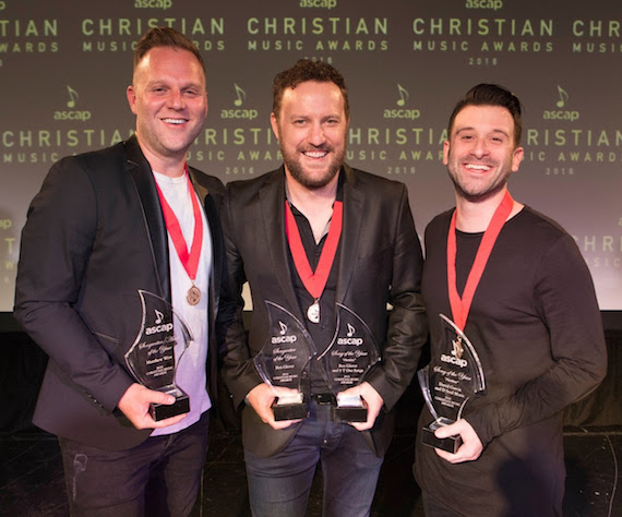 Pictured (L-R): Songwriter-Artist of the Year Matthew West, Song of the Year co-writer/Songwriter of the Year Ben Glover, Song of the Year co-writer David Garcia