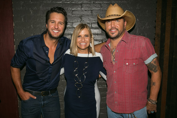 Pictured (L-R): Luke Bryan, Nashville's Mayor Megan Barry, Jason Aldean. Photo: Katie Kauss