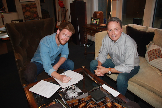 Pictured: Newly signed BMI songwriter Ben Haggard and BMI's Jody Williams pose for a photo in Jody's office.