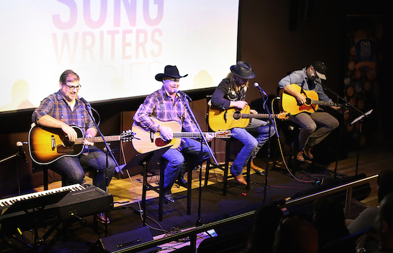 Pictured (L-R): Barry Dean, Tracy Lawrence, Rick Huckaby, and Luke Laird perform during the CMA Songwriters Series Thursday at The Birthplace of Country Music Museum in Bristol, Va. Photo: Rob Moore / CMA