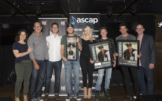 Pictured (L-R): Big Yellow Dog's Carla Wallace, Warner Music Nashville's John Esposito, BMI's Josh Tomlinson, BMI singer-songwriter Cole Swindell, ASCAP's Beth Brinker, writer Adam Sanders, producer Michael Carter and Sony/ATV Tree Publishing's Terry Wakefield. Photo: Steve Lowry