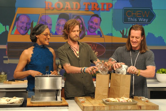 Pictured L-R: The Chew's Carla Hall with FGL's Brian Kelley and Tyler Hubbard. Photo: Paula Lobo/ABC
