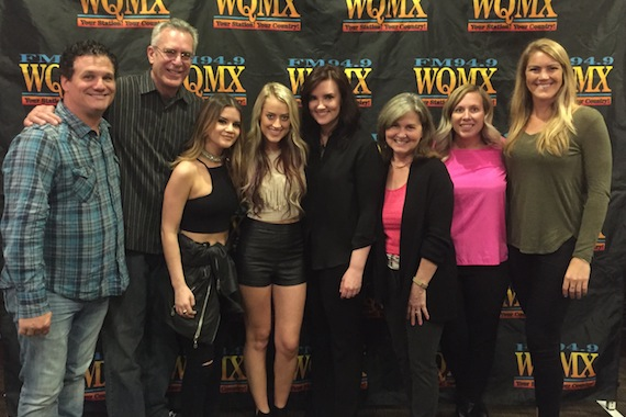 Pictured (L-R): Jeff Davis, Red Bow; Cliff Blake, Columbia; Maren Morris; Brooke Eden; Brandy Clark; WQMX's Sue Wilson and Jody Wheatley; Mallory Opheim, Warner Bros.