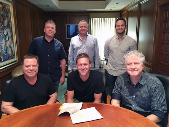 Pictured (L-R, front row): Frank Rogers, Fluid Music Revolution; Jason Lehning, Daniel Hill, President, Spirit Music Nashville. (L-R, back row): AJ Burton, Vice President, Fluid Music Revolution; Billy Lynn, VP Creative, Spirit Music Nashville; Eric Hurt, Sr. Director Creative, Spirit Music Nashville.
