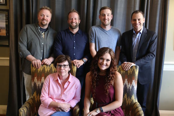(Front Row, L-R): Robin Palmer, SMACKSongs Senior Creative VP; Kylie Morgan. (Back row, L-R): Josh Osborne, Partner, SMACKSongs; Michael McAnally Baum, Business Affairs, SMACKSongs; Lee Krabel, Senior Creative Director, SMACKSongs; Daniel Novick, Savur Threadgold LLP. Photo: Courtesy SMACKSongs