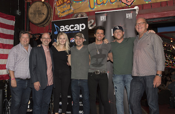 Pictured (L-R): BMI's Bradley Collins, Sony/ATV Tree Publishing's Terry Wakefield, ASCAP's Beth Brinker, BMI songwriter Jody Stevens, producer Michael Carter and Warner Music Nashville's John Esposito. Photo: Steve Lowry.