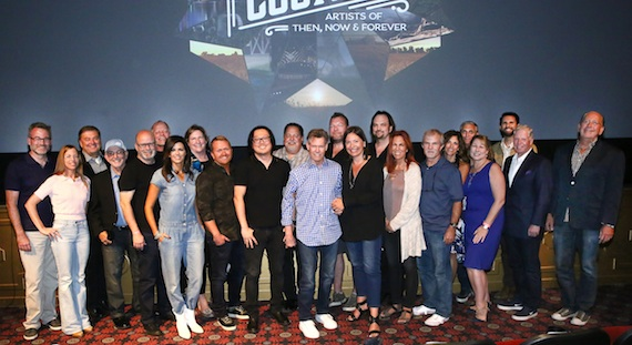 Pictured (L-R): Steve Buchanan, Opry Entertainment President; Vivien Lewit, YouTube Director of Music Content Partnerships; Lon Helton, host of Country Countdown USA; Terry Calonge, owner of Richards and Southern, Inc.; Mark Bright, owner of Mark Bright Productions; Kurt Johnson, Townsquare Media Senior Vice President of Programming; Karen Fairchild; Deb McDermott, Media General Chief Executive Officer; Shane McAnally; Joseph Kahn; Tony Conway, Conway Entertainment Group President; Randy Travis; Scott Scovill, owner of Moo TV, CenterStaging, LLC, and Moo Creative Media; Sally Williams, Ryman Auditorium General Manager; Sherod Robertson, MusicRow Enterprises President and owner; Victoria Shaw; Biff Watson, Biff-Bangs Productions, Inc. President; Kerri Edwards, KP Entertainment President; Butch Spyridon, Nashville Convention & Visitors Corporation President and CEO; Sarah Trahern, CMA Chief Executive Officer; Damon Whiteside, CMA Senior Vice President of Marketing and Strategic Partnerships; Pat Collins, SESAC Vice Chairman; and John Esposito, CEO/President of Warner Music Nashville. Photo Credit: Kayla Schoen / CMA