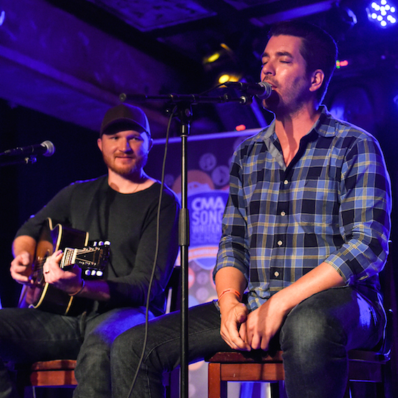 """Property Brothers"" star Jonathan Scott makes a surprise appearance joining Eric Paslay onstage during the CMA Songwriters Series Tuesday in the Parish at House of Blues New Orleans. Photo: Erika Goldring / CMA"